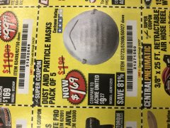 Harbor Freight Coupon DUST AND PARTICLE MASK 5 PACK Lot No. 62606/63723/50027 Expired: 3/4/20 - $1.69