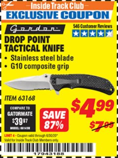 Harbor Freight ITC Coupon DROP POINT TACTICAL KNIFE Lot No. 63168 Valid Thru: 6/30/20 - $4.99