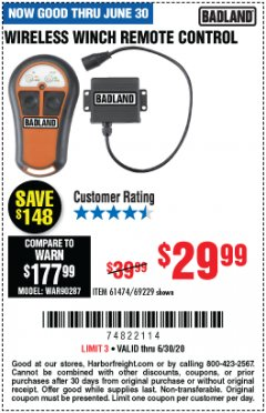 Harbor Freight Coupon WIRELESS WINCH REMOTE CONTROL Lot No. 69229/61474 EXPIRES: 6/30/20 - $29.99