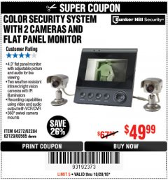 Harbor Freight Coupon COLOR SECURITY SYSTEM WITH 2 CAMERAS AND FLAT PANEL MONITOR Lot No. 62284/63129/60565 Expired: 10/28/18 - $49.99