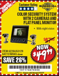 Harbor Freight Coupon COLOR SECURITY SYSTEM WITH 2 CAMERAS AND FLAT PANEL MONITOR Lot No. 62284/63129/60565 Expired: 2/16/19 - $49.99