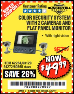 Harbor Freight Coupon COLOR SECURITY SYSTEM WITH 2 CAMERAS AND FLAT PANEL MONITOR Lot No. 62284/63129/60565 Expired: 3/30/19 - $49.99
