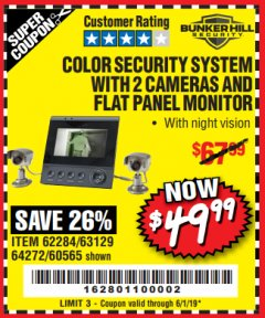 Harbor Freight Coupon COLOR SECURITY SYSTEM WITH 2 CAMERAS AND FLAT PANEL MONITOR Lot No. 62284/63129/60565 Expired: 6/1/19 - $49.99