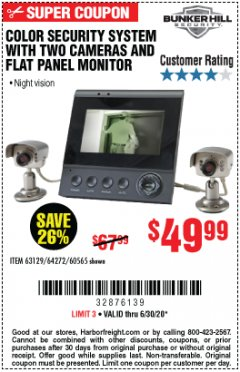 Harbor Freight Coupon COLOR SECURITY SYSTEM WITH 2 CAMERAS AND FLAT PANEL MONITOR Lot No. 62284/63129/60565 Expired: 6/30/20 - $49.99