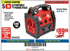 Harbor Freight Coupon 5-IN-1 PORTABLE POWER PACK Lot No. 60703/62747/63998/63746 Expired: 7/1/18 - $89.99