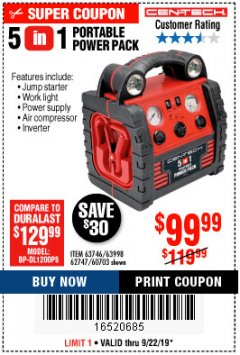 Harbor Freight Coupon 5-IN-1 PORTABLE POWER PACK Lot No. 60703/62747/63998/63746 Expired: 9/22/19 - $99.99