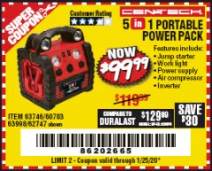 Harbor Freight Coupon 5-IN-1 PORTABLE POWER PACK Lot No. 60703/62747/63998/63746 Expired: 1/25/20 - $99.99