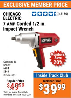 "Harbor Freight ITC Coupon 1/2"" ELECTRIC IMPACT WRENCH Lot No. 31877/61173/68099/69606 Valid: 10/1/20 - 10/31/20 - $39.99"
