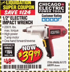 "Harbor Freight Coupon 1/2"" ELECTRIC IMPACT WRENCH Lot No. 31877/61173/68099/69606 Expired: 6/30/18 - $39.99"