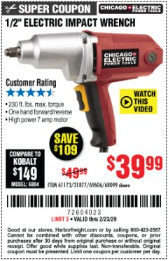 "Harbor Freight Coupon 1/2"" ELECTRIC IMPACT WRENCH Lot No. 31877/61173/68099/69606 Expired: 2/23/20 - $39.99"