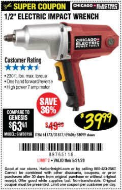 "Harbor Freight Coupon 1/2"" ELECTRIC IMPACT WRENCH Lot No. 31877/61173/68099/69606 Expired: 6/30/20 - $39.99"