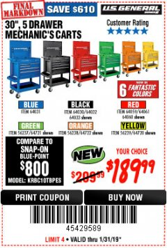 "Harbor Freight Coupon 30"", 5 DRAWER MECHANIC'S CARTS (RED, BLUE & BLACK) Lot No. 64031/64033/64032/64030/61427/64059/64060/64061/63308/95272 Expired: 1/31/19 - $189.99"