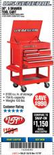 "Harbor Freight Coupon 30"", 5 DRAWER MECHANIC'S CARTS (RED, BLUE & BLACK) Lot No. 64031/64033/64032/64030/61427/64059/64060/64061/63308/95272 Expired: 1/7/18 - $159.99"