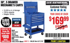 "Harbor Freight Coupon 30"", 5 DRAWER MECHANIC'S CARTS (RED, BLUE & BLACK) Lot No. 64031/64033/64032/64030/61427/64059/64060/64061/63308/95272 Expired: 6/17/18 - $169.99"