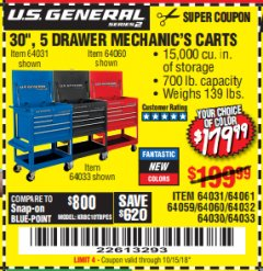 "Harbor Freight Coupon 30"", 5 DRAWER MECHANIC'S CARTS (RED, BLUE & BLACK) Lot No. 64031/64033/64032/64030/61427/64059/64060/64061/63308/95272 Expired: 10/15/18 - $179.99"