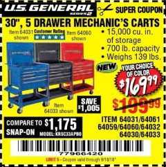 "Harbor Freight Coupon 30"", 5 DRAWER MECHANIC'S CARTS (RED, BLUE & BLACK) Lot No. 64031/64033/64032/64030/61427/64059/64060/64061/63308/95272 Expired: 9/18/18 - $169.99"