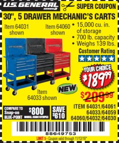 "Harbor Freight Coupon 30"", 5 DRAWER MECHANIC'S CARTS (RED, BLUE & BLACK) Lot No. 64031/64033/64032/64030/61427/64059/64060/64061/63308/95272 Expired: 11/12/18 - $189.99"