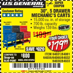 "Harbor Freight Coupon 30"", 5 DRAWER MECHANIC'S CARTS (RED, BLUE & BLACK) Lot No. 64031/64033/64032/64030/61427/64059/64060/64061/63308/95272 Expired: 11/18/18 - $179.99"