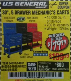 "Harbor Freight Coupon 30"", 5 DRAWER MECHANIC'S CARTS (RED, BLUE & BLACK) Lot No. 64031/64033/64032/64030/61427/64059/64060/64061/63308/95272 Expired: 11/1/18 - $179.99"