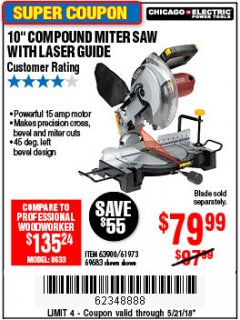 "Harbor Freight Coupon 10"" COMPOUND MITER SAW WITH LASER GUIDE Lot No. 61973/63900/69683 Expired: 5/21/18 - $79.99"