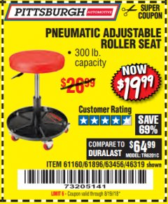 Harbor Freight Coupon PNEUMATIC ADJUSTABLE ROLLER SEAT Lot No. 61160/61896/63456/46319 Expired: 8/19/18 - $19.99