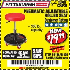 Harbor Freight Coupon PNEUMATIC ADJUSTABLE ROLLER SEAT Lot No. 61160/61896/63456/46319 Expired: 9/10/18 - $19.99