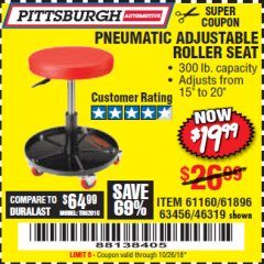 Harbor Freight Coupon PNEUMATIC ADJUSTABLE ROLLER SEAT Lot No. 61160/61896/63456/46319 Expired: 10/26/18 - $19.99