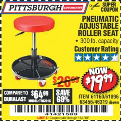 Harbor Freight Coupon PNEUMATIC ADJUSTABLE ROLLER SEAT Lot No. 61160/61896/63456/46319 Expired: 12/1/18 - $19.99