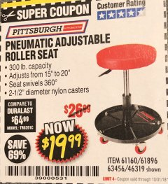 Harbor Freight Coupon PNEUMATIC ADJUSTABLE ROLLER SEAT Lot No. 61160/61896/63456/46319 Expired: 10/31/18 - $19.99
