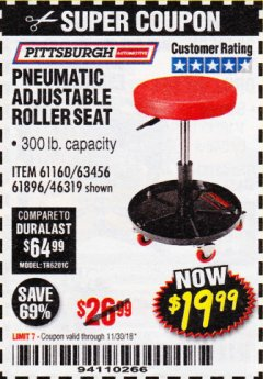 Harbor Freight Coupon PNEUMATIC ADJUSTABLE ROLLER SEAT Lot No. 61160/61896/63456/46319 Expired: 11/30/18 - $19.99