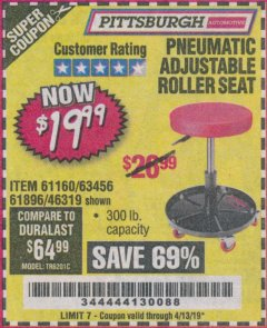 Harbor Freight Coupon PNEUMATIC ADJUSTABLE ROLLER SEAT Lot No. 61160/61896/63456/46319 Expired: 4/13/19 - $19.99