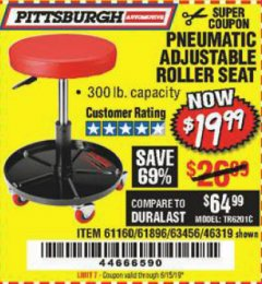 Harbor Freight Coupon PNEUMATIC ADJUSTABLE ROLLER SEAT Lot No. 61160/61896/63456/46319 Expired: 6/15/19 - $19.99