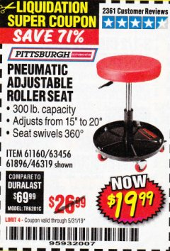 Harbor Freight Coupon PNEUMATIC ADJUSTABLE ROLLER SEAT Lot No. 61160/61896/63456/46319 Expired: 5/31/19 - $19.99