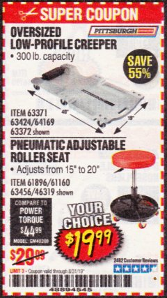 Harbor Freight Coupon PNEUMATIC ADJUSTABLE ROLLER SEAT Lot No. 61160/61896/63456/46319 Expired: 8/31/19 - $19.99