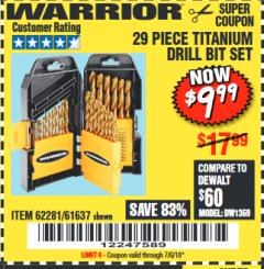 Harbor Freight Coupon 29 PIECE TITANIUM DRILL BIT SET Lot No. 5889/62281/61637 Expired: 7/6/18 - $9.99