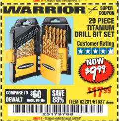 Harbor Freight Coupon 29 PIECE TITANIUM DRILL BIT SET Lot No. 5889/62281/61637 Expired: 8/6/18 - $9.99