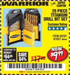 Harbor Freight Coupon 29 PIECE TITANIUM DRILL BIT SET Lot No. 5889/62281/61637 Expired: 10/15/18 - $9.99