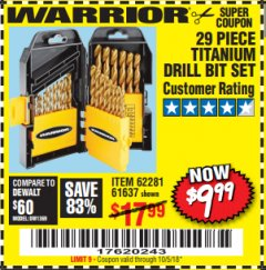 Harbor Freight Coupon 29 PIECE TITANIUM DRILL BIT SET Lot No. 5889/62281/61637 Expired: 10/5/18 - $19.99