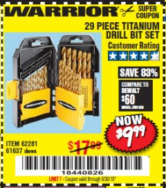 Harbor Freight Coupon 29 PIECE TITANIUM DRILL BIT SET Lot No. 5889/62281/61637 Expired: 9/30/18 - $9.99