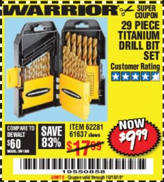 Harbor Freight Coupon 29 PIECE TITANIUM DRILL BIT SET Lot No. 5889/62281/61637 Expired: 10/18/18 - $9.99