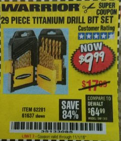 Harbor Freight Coupon 29 PIECE TITANIUM DRILL BIT SET Lot No. 5889/62281/61637 Expired: 11/1/18 - $9.99