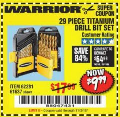 Harbor Freight Coupon 29 PIECE TITANIUM DRILL BIT SET Lot No. 5889/62281/61637 Expired: 11/3/18 - $9.99