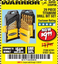 Harbor Freight Coupon 29 PIECE TITANIUM DRILL BIT SET Lot No. 5889/62281/61637 Expired: 11/30/18 - $9.99