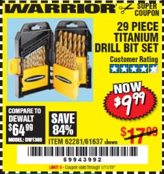Harbor Freight Coupon 29 PIECE TITANIUM DRILL BIT SET Lot No. 5889/62281/61637 Expired: 1/11/19 - $9.99