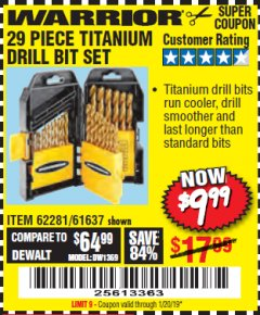 Harbor Freight Coupon 29 PIECE TITANIUM DRILL BIT SET Lot No. 5889/62281/61637 Expired: 1/20/19 - $9.99