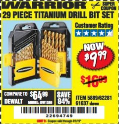 Harbor Freight Coupon 29 PIECE TITANIUM DRILL BIT SET Lot No. 5889/62281/61637 Expired: 4/1/19 - $9.99