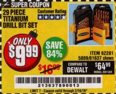 Harbor Freight Coupon 29 PIECE TITANIUM DRILL BIT SET Lot No. 5889/62281/61637 Expired: 2/16/19 - $9.99