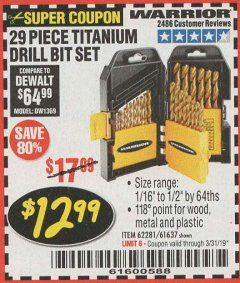 Harbor Freight Coupon 29 PIECE TITANIUM DRILL BIT SET Lot No. 5889/62281/61637 Expired: 3/31/19 - $12.99
