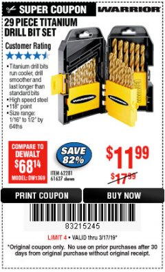 Harbor Freight Coupon 29 PIECE TITANIUM DRILL BIT SET Lot No. 5889/62281/61637 Expired: 3/17/19 - $11.99