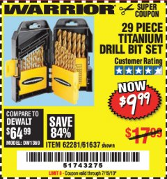 Harbor Freight Coupon 29 PIECE TITANIUM DRILL BIT SET Lot No. 5889/62281/61637 Expired: 7/19/19 - $9.99